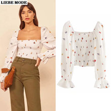 Women Fashion Elegant Floral Square Neck Long Flare Top Blouse Womens Slim Tops and Blouses Spring Summer Crop Shirt Streetwear