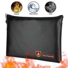 Document-Bag for Money Passport-Bags Cloth Suture Liquid Fiberglass Fireproof Area Black