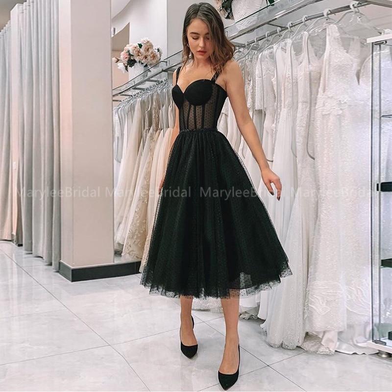 Black Polka Dot Tulle Short   Prom     Dresses   Velour Tea Length Evening Gown 2020 Hot Sale Women Wedding Party   Dress   Vestido De Festa
