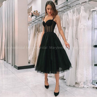 Black Polka Dot Tulle Short Prom Dresses Velour Tea Length Evening Gown 2020 Hot Sale Women Wedding Party Dress Vestido De Festa
