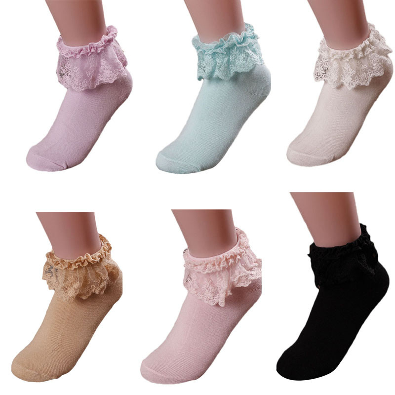 2019 Fashion Women's Vintage Lace Ruffle Frilly Ankle Socks Lady Harajuku Lovely Cute Princess Girl Favorite 6 Color Available#D
