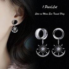 2 piezas de Dilataciones de Oreja, Piercing para la Oreja, joyería corporal, pendientes de estrella, tapones para los oídos, expansiones para los oídos, Piercing colgante de luna de gema