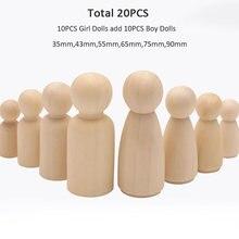 20 шт/лот 90 мм 35 натуральные деревянные куклы peg женские