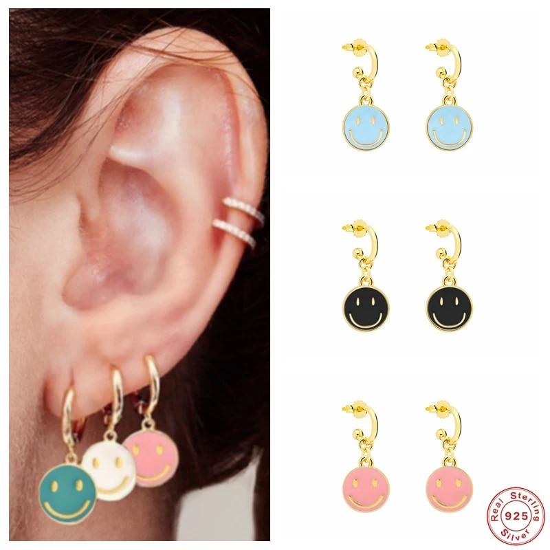 Enameled Round Disc Earrings Pendants