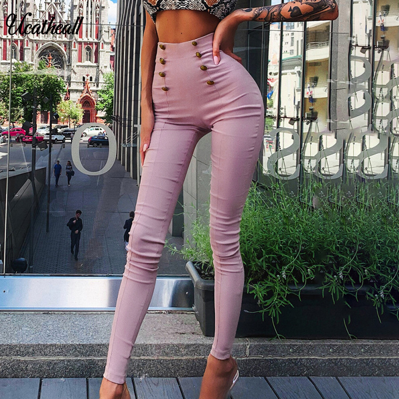 Suede Skinny High Waist Casual Women Pants Fashion  Buckle Pencil Pants Women Solid Autumn Sexy Women Chic Winter Trousers