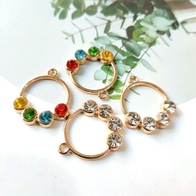 FashionJewelry inlay alloy  round  earrings pendant diy accessories earring findings  jewelry making supplies 2pcs