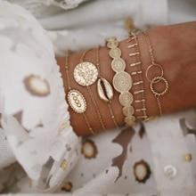 6 PCS/set Bohemian Fashion Bracelets Leaf Shell Geometric Chain Bracele
