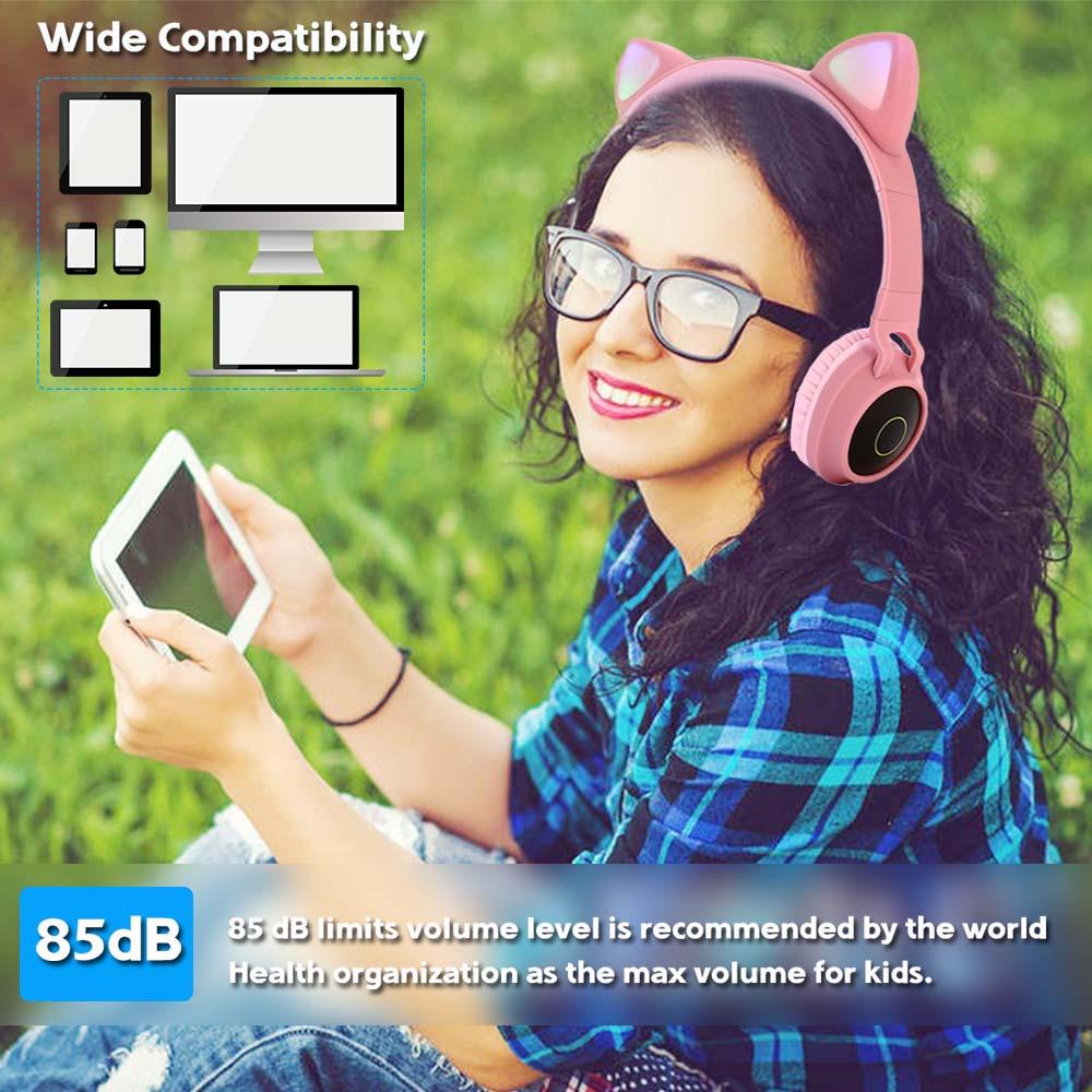 Image 5 - JINSERTA Cat Ear LED Bluetooth Headphone Bluetooth 5.0 Kids Headphones Glowing Light Handsfree Headset Gaming Earphones for PC CPhone Earphones & Headphones   -