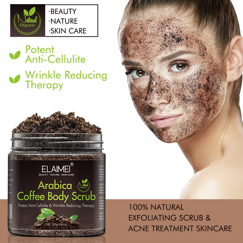 250g Coffee Body Scrub Cream Exfoliating Whitening Face Bath Salt Deep Cleansing Particles
