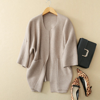 100% Cashmere Sweater Women Cardigans Casual Style O Neck Batwing Sleeves Pocket Ladies Loose Knitwear New Fashion