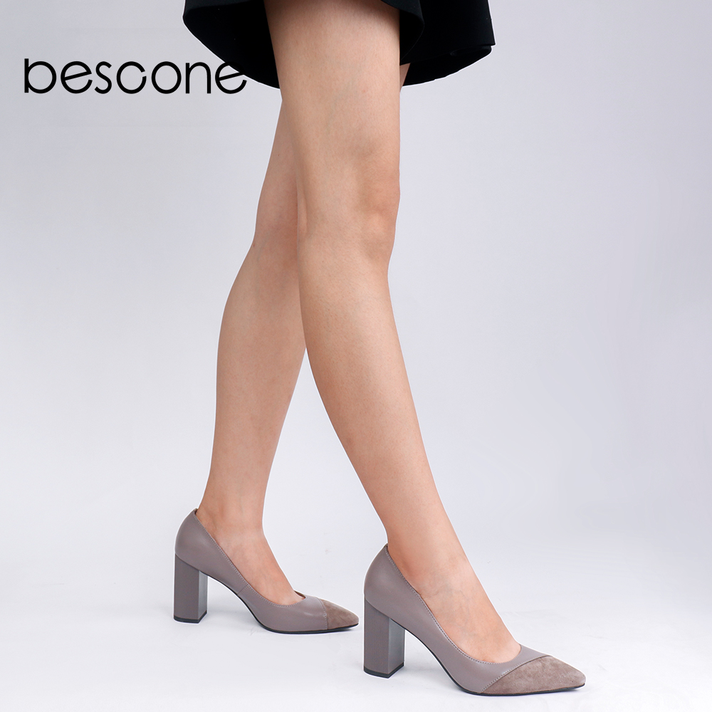 BESCONE Fashion Genuine Leather Shallow Women Pumps Sexy Pointed Toe Super High Shoes Handmade Square Heel Ladies Pumps BC141