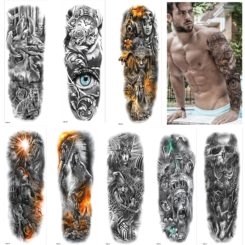 1 Sheets Full Arm Temporary Tattoos For Men Body Sleeve Fake Warrior Tattoo Stickers Rose Beast Wolf Lion Tiger Eye Totem Tatoos
