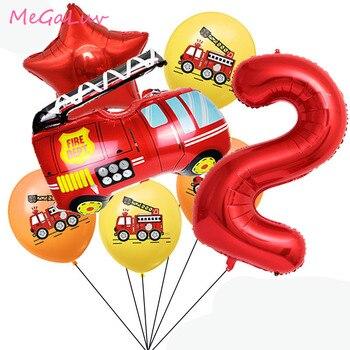13 шт./компл. 2nd 3th день рождения пожарная машина латексные воздушные шары 32 дюйма Красный номер балоны детский душ пожарный День рождения укр...