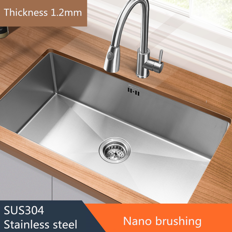 Nano  Kitchen Sink Brushed Silver SUS304 Stainless Steel Undermount  Thickness 1.2mm Kitchen Single Bowl Set Groove Depth 21cm
