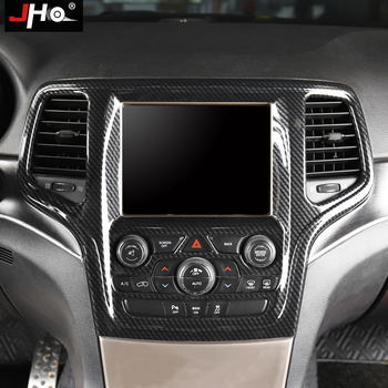 JHO Carbon Grain Front Center Console Panel Cover Trim For 2014-2018 Jeep Grand Cherokee 2017 2016 2015 Limited Overland Upland