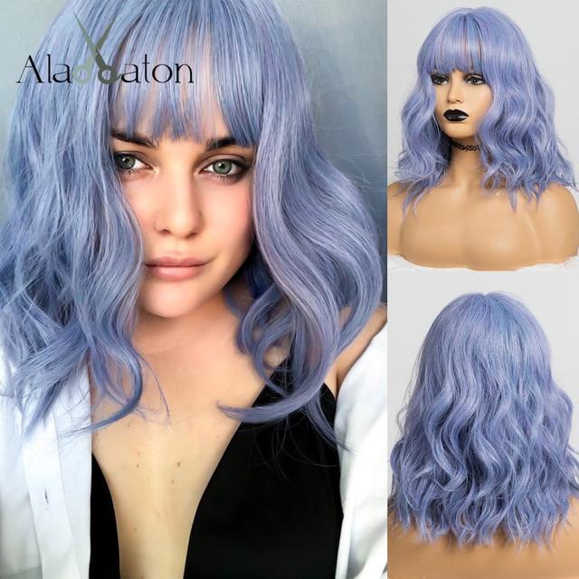 ALAN EATON śliczne syntetyczne krótkie peruki z grzywką dla kobiet fala włosów peruka naturalne Cosplay mieszane niebieski fioletowy BObo Lolita peruki