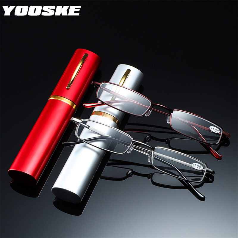 YOOSKE + 1.5 2.0 2.5 Occhiali Da Lettura Donna Uomo Ultralight Portatile Mini Ipermetropia Occhiali In Metallo Presbiopia con diottrie più 1