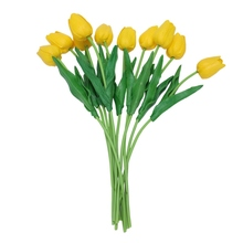 10pcs Yellow Latex Real Touch Tulip Flower with Leaves For Wedding Bouquet Decorate