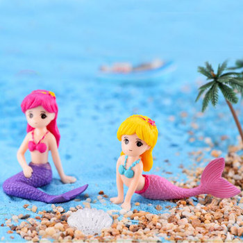 Innocent Lovely Fairy Tale Cute Little Mermaid Doll Toys Ornament Aquarium Fish Tank Girls Favor Home Room Decoration Childhood image