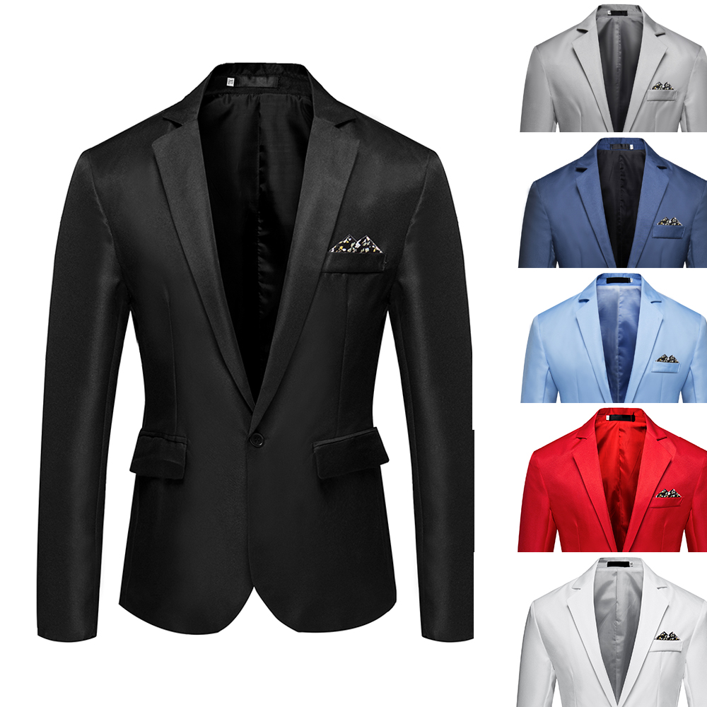 2019 M-5XL Men's Formal Slim Fit Formal One Button Suit Long Sleeve Notched Blazer Cotton Blend Coat Jacket Top