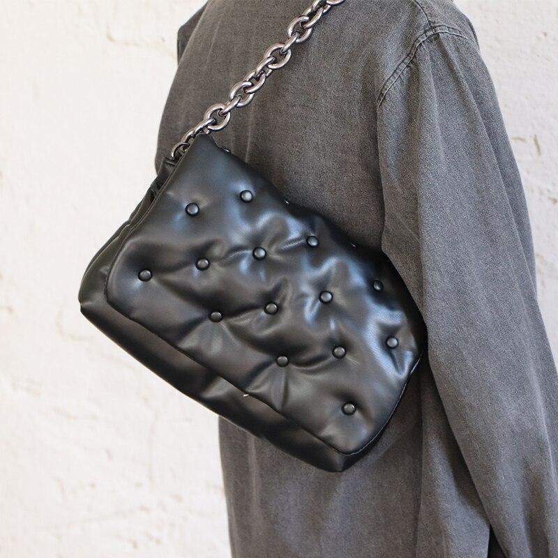 Роскошная брендовая трендовая сумка на плечо с заклепками для женщин, Джинсовые Сумки на цепочке, сумки и кошельки, женская модная трендова...