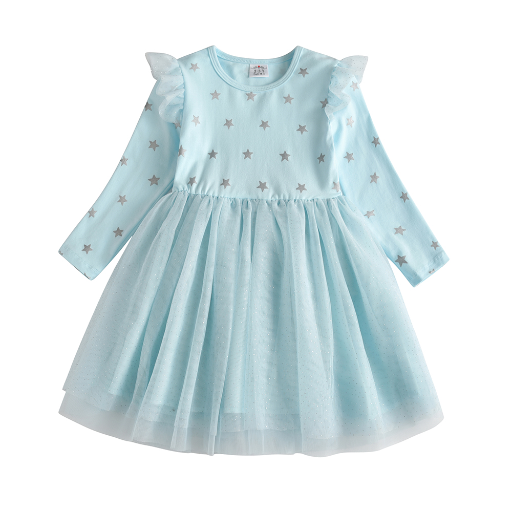 VIKITA Kids Long Sleeve Dresses for Girls Party Dress Star Printed Birthday Tutu Dresses Children Casual Wear Princess Vestidos 2