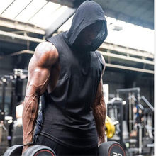 men workout Hooded Tank Tops Men Running Sport Sleeveless Shirts Summer Male Gym Fitness Workout Training Singlet Vest Clothing(China)