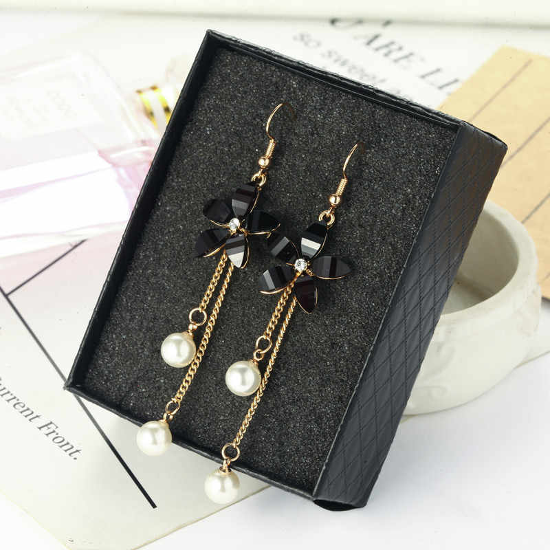 Hot style personality pearl eardrop flower simple joker pendant long earrings female