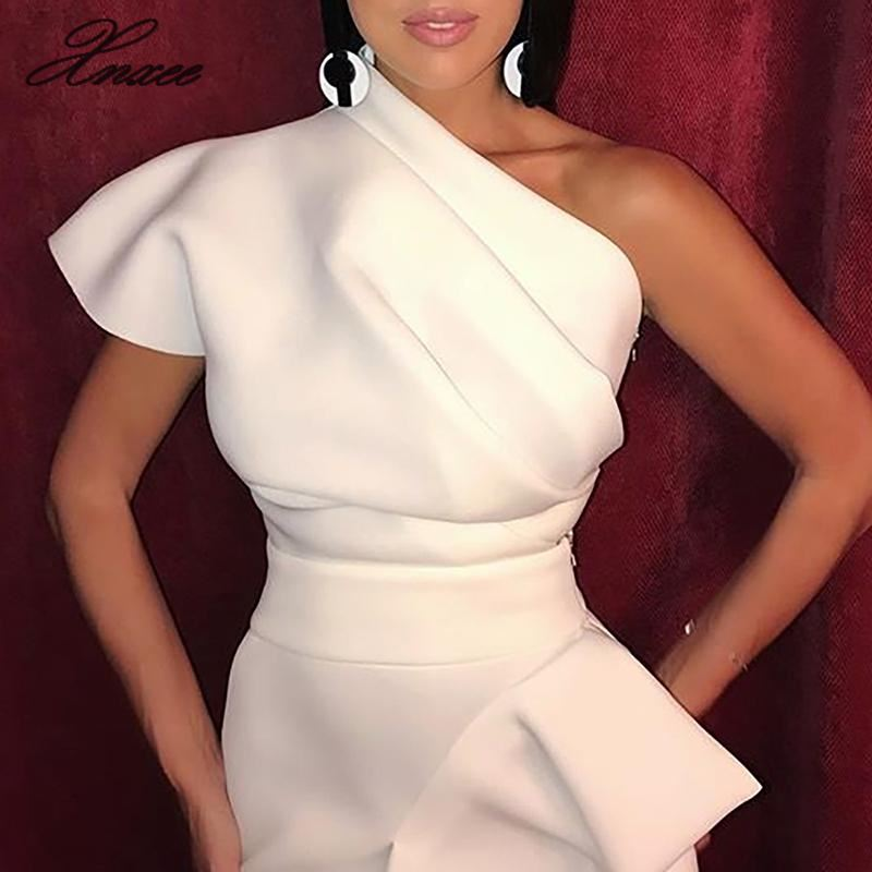 Xnxee One shoulder party dress for women dress with asymmetric pleats elegant summer dress 2019 white dresses in Dresses from Women 39 s Clothing