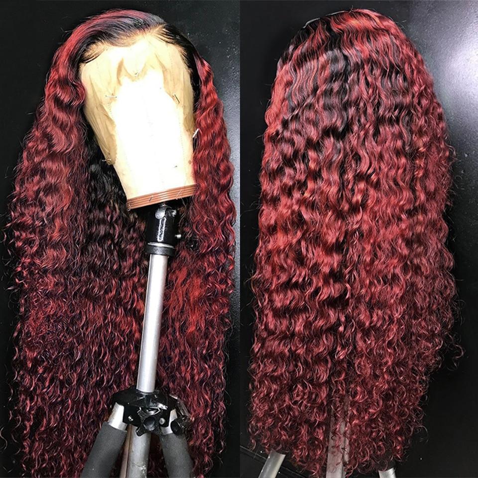 99j omber borgonha encaracolado perucas da parte dianteira do laço 13x6 remy malaio perucas de cabelo humano para preto feminino perplucked 150% densidade eifini perucas