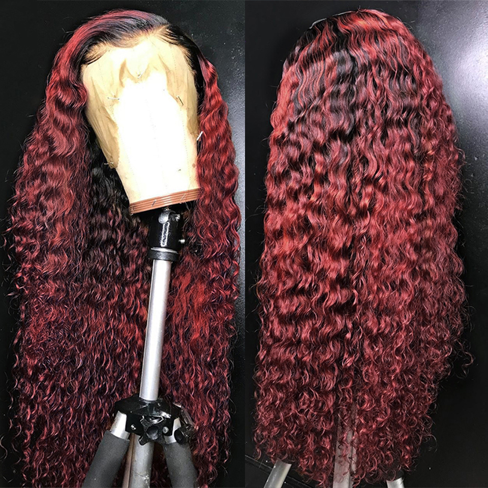 99j omber borgonha encaracolado do laço perucas de cabelo humano t parte malaio remy perucas de cabelo para preto mulher preplucked 200% densidade peruca eifini