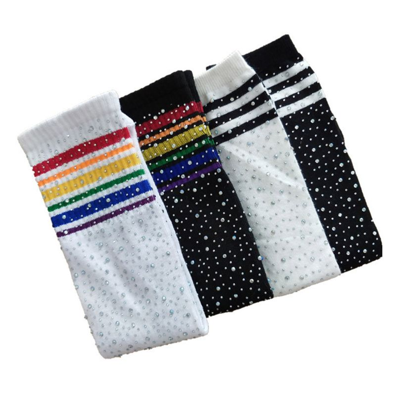 Fashion Children Knee High Socks Colorful Striped Rhinestone Girls Stockings P31B