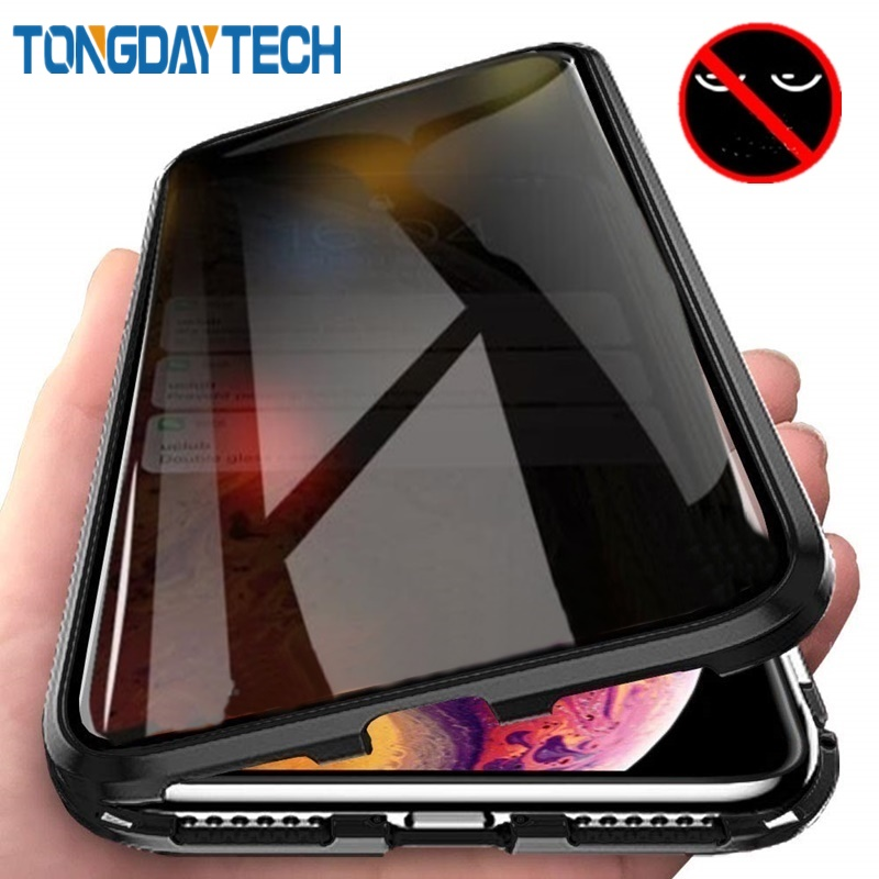 Tongdaytech magnético vidro temperado caso ímã privacidade metal 360 antispy capa para iphone xr xs max x 8 7 6 s plus 11 pro max