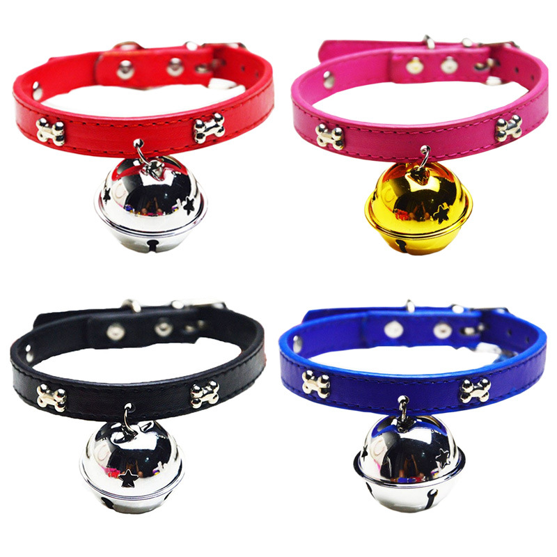 Pet Supplies Cat Big Dog Neck Ring PU Strip Large Bell Diameter 4cm Cute Wear Hand Holding Rope Accessories