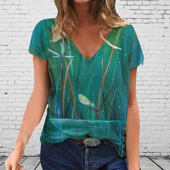 aesthetic women's t-shirt 2020 Plus Size Women Short Sleeve Printed V-Neck Tops Tee T-Shirt top summer female top female 1