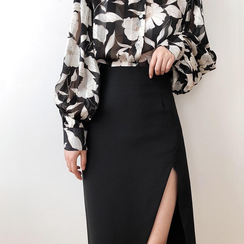 High Waist Split Skirt Female Summer 2020 Black Light Mature Sexy Pencil Midi Skirt