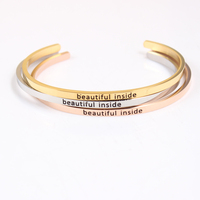 Beautiful Inside Stainless Steel Bangle For Women Cuff Female Jewelry Inspirational Bracelets For Party Jewelry Multiple Styles