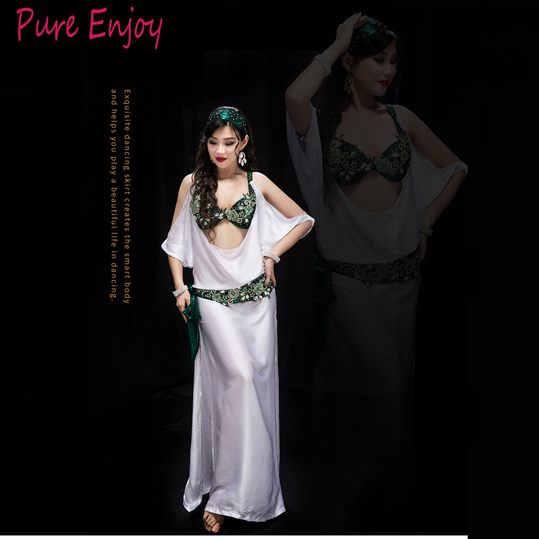 Belly Dancing Women Spandex And Silk Satin Belly Dance Costume Set Girls Belly Dance Bra+safety Shorts+Robe Headband Waistband