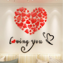 цена Creative Art Wall Decor 3D Love Acrylic Wall Sticker For Bedroom Living Room TV Background home Decoration Valentine's Day Gifts