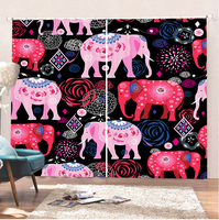 Elephant Curtains Animal Curtains Room Cartoon Bathroom Curtains Comfortable Curtain Kitchen Curtains Blackout Curtains