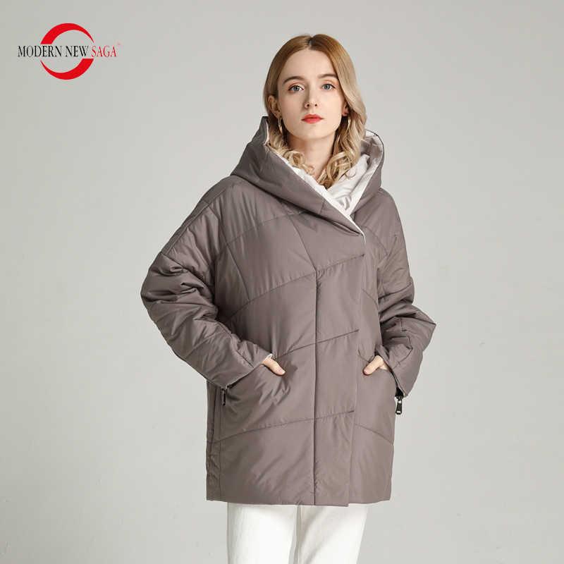 Moderne Nieuwe Saga 2020 Lente Jas Vrouwen Dunne Gewatteerde Jas Polyester Herfst Vrouwen Jas Hooded Bubble Jas Big Size Bovenkleding