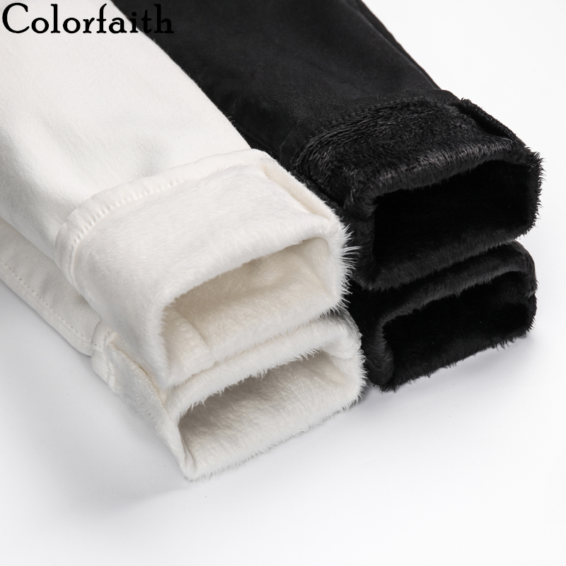 Colorfaith 2019 Women Jeans Zipper Thicken Warm Elasticity Skinny High Waist Pants Ladies Ankle-Length White Black Denim J2880
