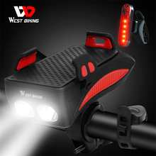 WEST BIKING 400 lumenów wielofunkcyjny rower światła z uchwytem telefonu rower Highlight 2000 4000mAh Power Bank latarka rowerowa tanie tanio CN (pochodzenie) YP0701254-55 YP1602178-79 Kierownica Battery Bike Phone holder horn light ABS engineering plastic PS silicone