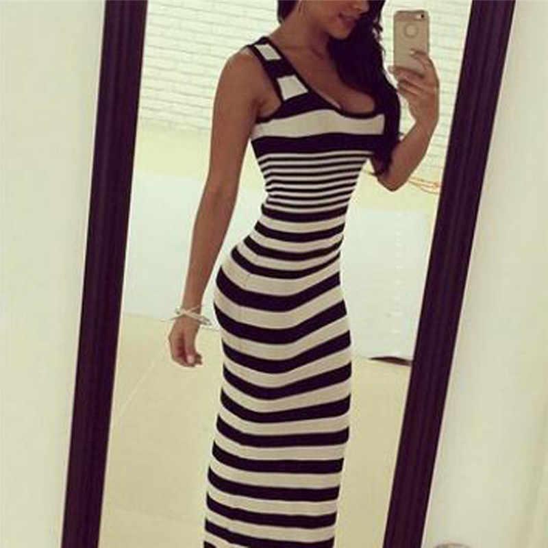 シュージン女性のボディコンロングドレスセクシーなノースリーブプラスサイズのドレス夏ストライプヴィンテージスキニーパーティーマキシドレスvestidos 3XL