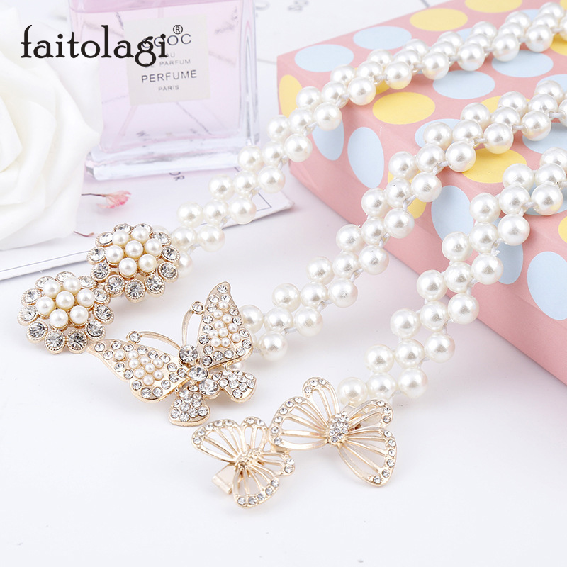 Pearl Bow Women Waist Belt Elegant Butterfly Ladies Dress Belt Elastic Buckle Chain Female Belt Crystal Strap Waistband
