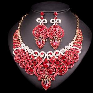Image 5 - 웨딩 크리스탈 반지 팔찌 목걸이 귀걸이 세트에 대 한 설정 럭셔리 신부 보석 인도 파티 의상 액세서리 여성을위한 선물