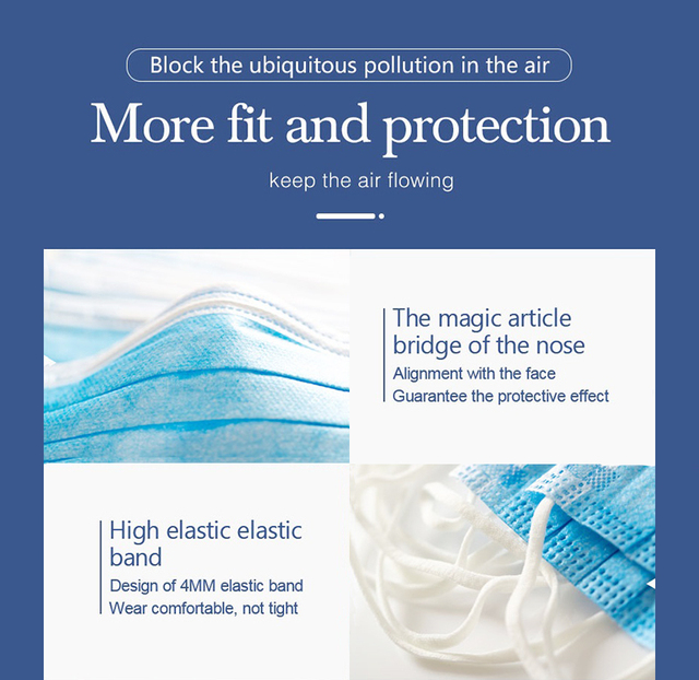 20pcs/50pcs Hygiene Face Mouth Masks 3 Layer Mask Flu Non Woven Disposable Anti-Dust Meltblown Cloth Masks Earloops Masks 2