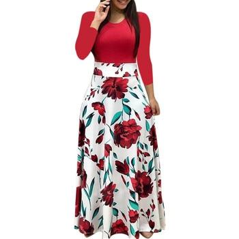 Spring Women Maxi Dress Vintage Floral Print Splice Casual Long Sleeve Dress 5XL Plus Size Elegant Ladies Long Dresses Vestidos 1