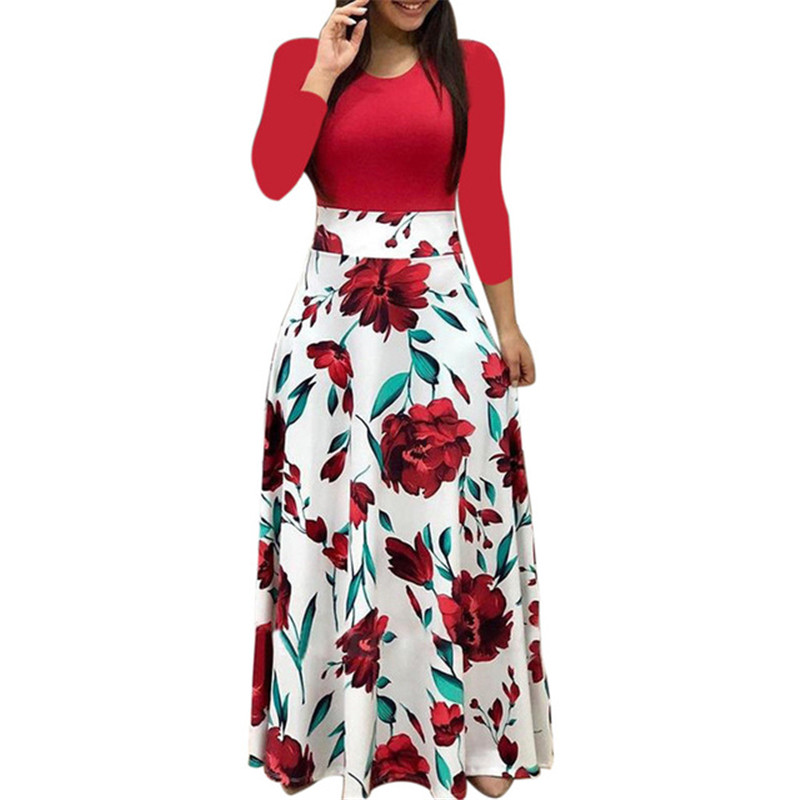 Spring Women Maxi Dress Vintage Floral Print Splice Casual Long Sleeve Dress 5XL Plus Size Elegant Ladies Long Dresses Vestidos