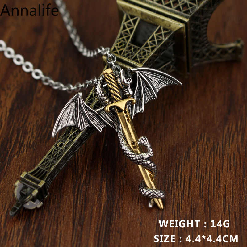 2019 New Jewelry Dragon-Sword Pendant Necklace Game Throne Neck Anime Necklace For Men Christmas Gifts